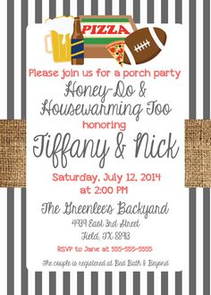 8ef342be343 Any Color TAILGATE BEER FOOTBALL Burlap Stripes Blue Fraternity Sorority Birthday  Couples I Do Bbq Wedding Bridal Baby Shower Invitation