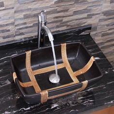 Elite Elimax's 2009+882002 Rectangle Matt Black Porcelain Ceramic Bathroom Vessel Sink With Faucet Combo (Chrome (Grey) Finish Faucet+Sink), Size 16-25