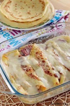 Crespelle prosciutto e mozzarella Antipasto, Crespelle Recipe, Cannelloni, Salty Foods, Crepe Recipes, Chicken Wing Recipes, Frittata, Appetisers, Galette