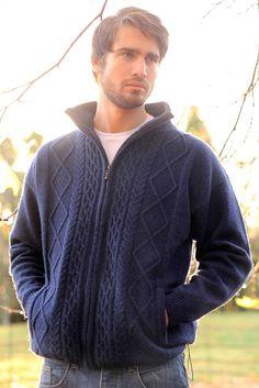 Full Zip Men's Aran Wool Sweater
