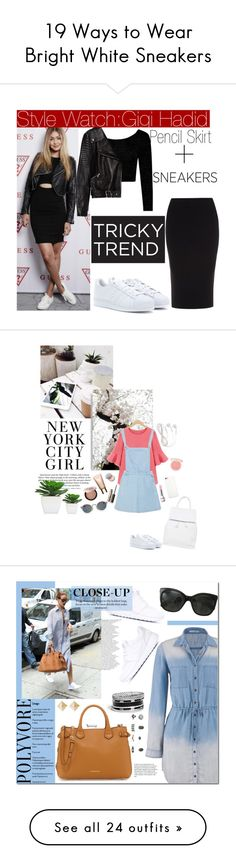 """""""19 Ways to Wear Bright White Sneakers"""" by polyvore-editorial ❤ liked on Polyvore featuring whitesneakers, waystowear, Boohoo, Roland Mouret, adidas, Zara, TrickyTrend, leatherjacket, sneakers and pencilskirt"""