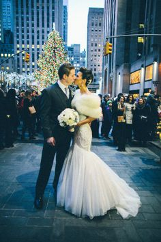 Winter Wedding, Rockefeller, New York, Mark Zunino gown, white fur stole
