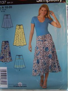 Misses' Flared Skirt Pull On Skirt  Easy Sewing by WitsEndDesign, $8.00