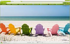 Colorful Chairs on Beach Google Chrome Theme | chromePoster.com