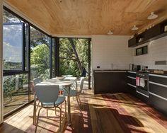 Glamuzina Paterson Architects Ltd Plywood ceiling, fully white tiled walls, mixed timber floors