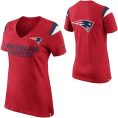 Women's New England Patriots Nike Red Fan Top V-Neck T-Shirt