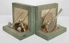 Pair of Art Deco Sports-Themed Shagreen Bookends image 2