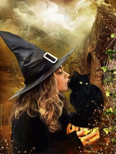 Halloween little witch and black cat GIF