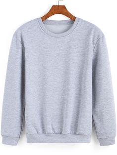 Grey Round Neck Loose Casual Sweatshirt -SheIn(Sheinside)