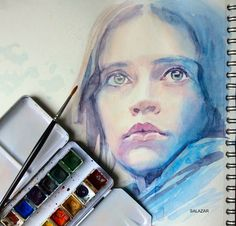 Jyn. Star Wars. Rogue One. Retrato con acuarela. Clases de pintura en Las Palmas. Retratos al óleo