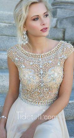 2016 prom dress, beaded cap sleeves prom dress, long chiffon prom dress
