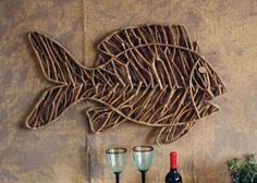 fish shaped vine wall hanging