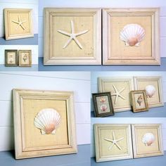 16 DIY Beach-Inspired Wall Art Ideas | Shelterness - great idea to use the shells, sand dollars and starfish from Ocean Shores, WA trip.  :)