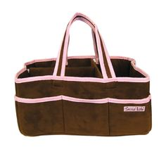 """Add organization to any area of your home with this portable Storage Caddy by Trend Lab. This brown ultrasuede with pink trim, lightly padded caddy has 8 outer pockets and a removable """"""""T"""""""" separator"""