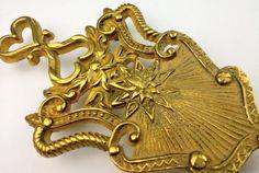 Vintage Ornate Brass Footed Trivet Home Decor