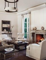 Living Rooms   Cream Gray Black Coffee Table Brass Accent Table Black  Marble Granite Top Brown Rug French Gray Taupe Velvet Sofa Cream Tufted  Wingback ...