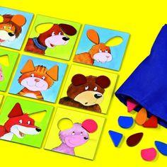 """Acest joc stimuleaza: simtul tactil, recunoasterea formelor si culorilor.  """"Trage-ma putin de urechi"""" ii spune pisica micutului caine. Pisicii ii place aceasta in mod deosebit. Incet cainele trage de urechiusele pisicii. """"Hei, dar aceasta este urechiusa mea"""" spune ursuletul. """"Urechiusa pisicii are total alta forma"""" """"Nu-i chiar asa de usor"""", se plange cainele. Il puteti ajuta pe micutul catelus sa gaseasca urechiusa potrivita? Kids Rugs, Decor, Decoration, Decorating, Kid Friendly Rugs, Dekorasyon, Dekoration, Home Accents, Nursery Rugs"""