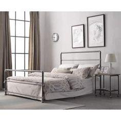 Nazaire Dark Grey Industrial Lines Iron Metal Queen-size Bed by Corvus