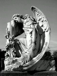 ☫ Angelic ☫ winged cemetery angels and zen statuary - Cemetery Angels, Cemetery Statues, Cemetery Art, Angels Among Us, Angels And Demons, Old Cemeteries, Graveyards, I Believe In Angels, Ange Demon