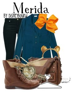 Merida by leslieakay on Polyvore featuring polyvore, fashion, style, L'Agence, 7 For All Mankind, Charlotte Russe, Jessica Simpson, Lanvin, Disney, clothing and disney