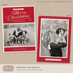 Digital Photoshop Christmas Card Template for by Papiernik on Etsy