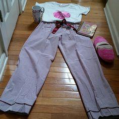 COMFY SEERSUCKER PAJAMAS XL and L TEE Comfy seersucker pajamas and  Tee. So cute and stylish wth silk bow detail am pocket. Remember..THEY ARE PAJAMAS!!  NWOT Intimates & Sleepwear Pajamas