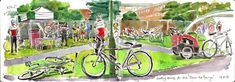 Tour de Penge  a print made from my sketchbook by lineandwash