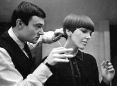 Vidal Sassoon creating the iconic bob cut for designer Mary Quant. I wore my hair like that. I had it cut at Vidal Sassoon! They call it a pixie cut, now!
