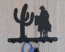 Cowboy by a saguaro cactus key holder - [4500006]