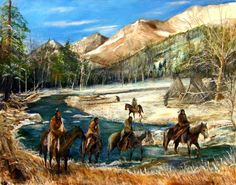 River Crossing Limited Edition Fine Art Print Native American Indian Winter by Patrick Rahming 36x45 *** Want to know more, click on the image.