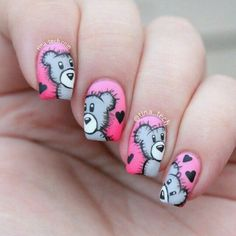 Teddy Bear Nail Art Design Inspired Nails Nail Art, Nail Polish Designs by Essie Looks. Create a beautiful at-home manicure with nail polish & nail art desig. Heart Nail Art, Heart Nails, Simple Nail Art Designs, Beautiful Nail Designs, Trendy Nail Art, Cool Nail Art, Cute Nails, Pretty Nails, Best Nail Salon