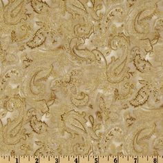 La Scala 4 Large Paisley Floral Metallic Gold/Antique