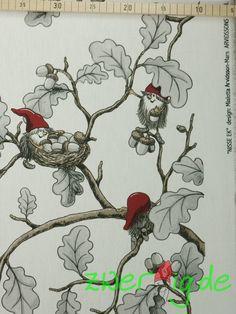 Weihnachtsstoffe - Baumwolle weiß Wichtel Bordüre Nisse EK Arvidsson - ein Designerstück von zwergigDE bei DaWanda