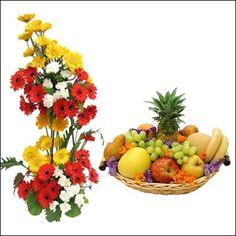 Lovely combo of flowers and fruits..