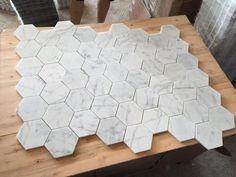 "Bianco Carrara Hexagon 2"" Marble Mosaic | White Marble Bathroom Tile"