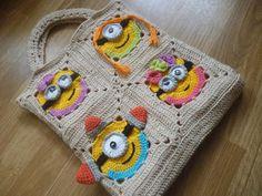 Totem, sac « Sbires Go » au crochet, sac au crochet, crochet sac de femme, sac à crochet carrés granny minion, star stitch bsg