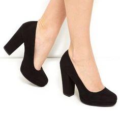 Black Comfort Block Heel Court Shoes