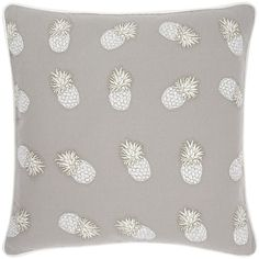 Elizabeth Scarlett Ananas Pillow - 45x45cm - Cloud ($70) ❤ liked on Polyvore featuring home, home decor, throw pillows, grey, pineapple home decor, inspirational throw pillows, gray home decor, tropical throw pillows and gray accent pillows