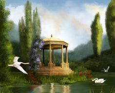 Swans - splendor, flowers, lake, beautiful, reflection, shelter, gazebo, art, pretty, romantic, beauty, swans, white, grass, fantasy, green, swan, dome, trees, sky, lovely, charming, clouds, nature, peaceful, flying, romance