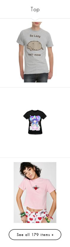 """""""Top"""" by clairelockmoo ❤ liked on Polyvore featuring tops, t-shirts, cat print top, cat tee, cat t shirt, pusheen t shirt, pusheen, blossom shirt, flower shirt and shirt top"""