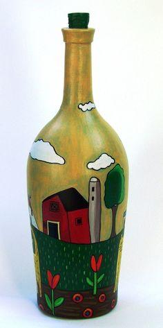 Botella pintada - Adornos - Casa - 498246