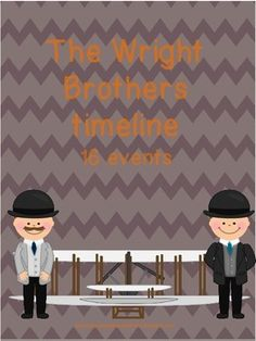 Timeline of major events in the Wright brother's lives. Students will cut out the 16 events and glue them in order on construction paper. Students have to pay close attention to the months and years. Wright Brothers, Major Events, Construction Paper, Sorting, Timeline, Unit Studies, Mickey Mouse, Disney Characters, Fictional Characters