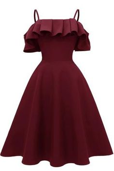 Ruffle Trim Spaghetti Straps Satin Prom Dress - Expolore the best and the special ideas about Cocktails Cute Prom Dresses, Dance Dresses, Elegant Dresses, Homecoming Dresses, Pretty Dresses, Vintage Dresses, Casual Dresses, Dresses For Work, Sexy Dresses