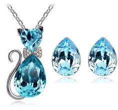free shipping promotion bridal summer top quality cute Austrian Crystal cat catty pendant necklace earrings fashion jewelry sets