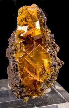 Orange Wulfenite & Mimetite from San Francisco Mine, Sonora, Mexico