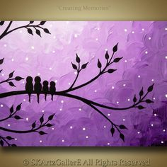 Title: Creating Memories - Family of Birds on Tree Original Acrylic Painting 9 X 12 X .75 inches Gallery wrapped Canvas Materials: Acrylics, Gallery wrapped canvas, Varnish Dominant colors: Shades of purple, white & Black Shipping** I do ship internationally, contact me with your postal code for shipping rates before you make a purchase. Also read through the shipping and payment policies. Other details: Sides are painted in black, staples in the back and not on sides. Alwa...