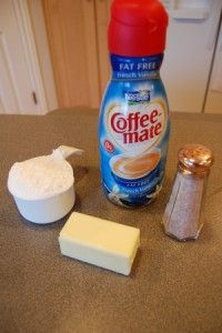Tools, tips & tricks: Using Coffee Mate in frosting. You can use ANY flavor of creamer... think of the possibilities! Peppermint Mocha, Pumpkin Spice, Eggnog... for the holidays!