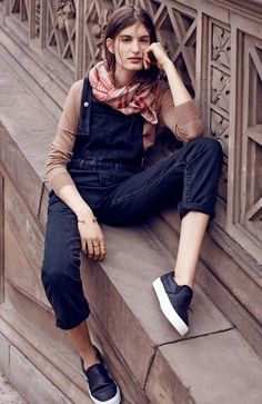 Madewell zip overalls worn with rowhouse sweater + flipcheck scarf. #denimmadewell