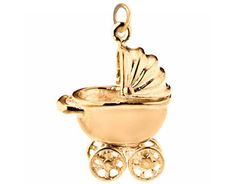 gold pram charm supporting babies in need at altruette | baby shower gift guide