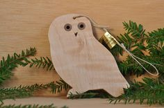 Curly Maple Owl Ornament  Solid Wood by QuinaultWoodcrafts on Etsy, $10.00